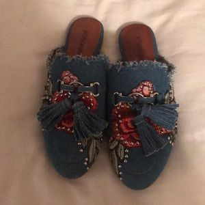 Jeffrey Campbell denim embellished slides